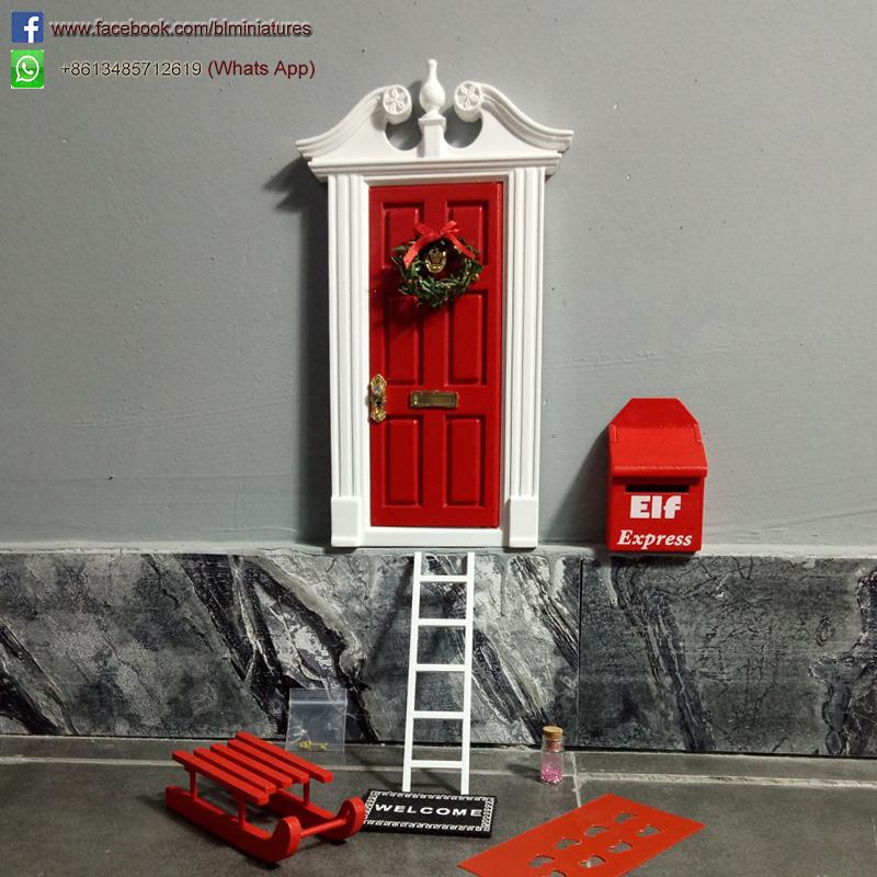 Wooden Double-Ear Elf Door Set (Red) SEME001RD & blminiatures